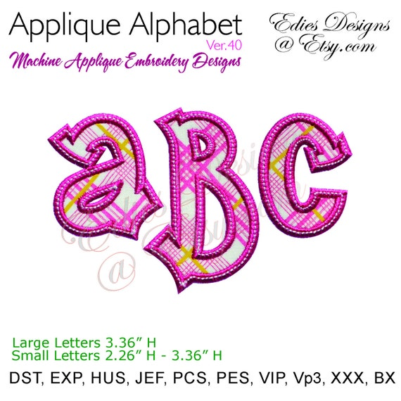 Applique alphabet machine embroidery designs monogram fonts bx