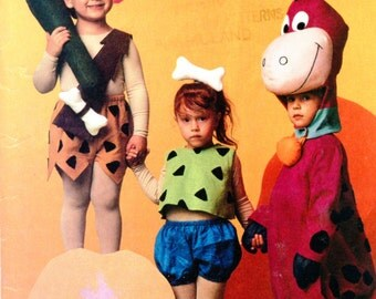 Vintage Flintstones Costumes - Bam Bam, Pebbles & Dino McCalls SEWING PATTERN 5555 Official Licensed Hanna-Barbera Characters Child size 5-6