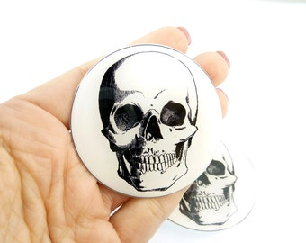 """3 EXTRA LARGE Skull Sewing Buttons.  Human Skull Handmade Buttons. 2 1/8"""" or 55  mm Shank Style. Handmade By Me."""