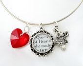 Alice in Wonderland Bracelet - Alice in Wonderland - Literary Jewelry -  Alice in Wonderland Jewelry - Silver Bangle Bracelet