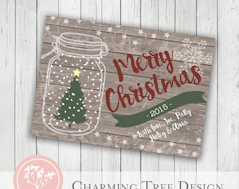 Rustic Christmas Card - Photoshop Template