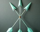 Turquoise 3 Metal Arrows,  Hand Painted. Tribal / Bohemian Style, Wall Decor. Nursery decor.