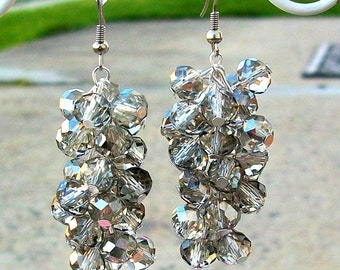 Smokey Gray Swarovski Crystal Cluster Earrings