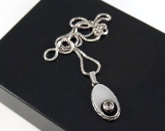 Sten & Laine Necklace - Oval Rock Crystal - Sterling Silver - Modernist Brutalist Finland Scandinavian - Signed - Karl Laine Pendant