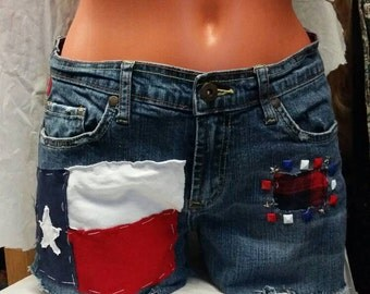 Cutoff Shorts Women's size 7 / 8  Texas Flag Patched OOAK