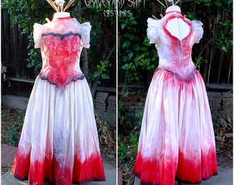 Vampire Costume Blood Drenched // Gothic Victorian Gown // Dracula Bride // Halloween Costume // Wedding dress // Size Large