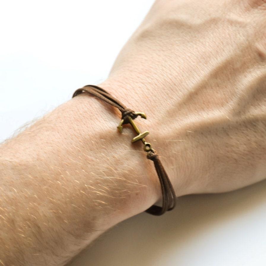 anker kordel armband herren armband bronze anker charm. Black Bedroom Furniture Sets. Home Design Ideas