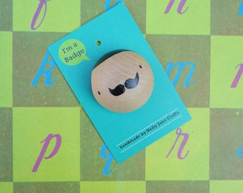 Poirot Pin Badge / Hand Painted Wooden Button / Fathers Day Illustrated Moustache Man Pin / Kawaii Style Gentleman Brooch / Movember Badge