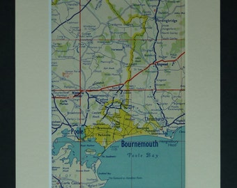 1950s Vintage Map of Bournemouth, Dorset Decor, Available Framed, Poole Art, Old Christchurch Picture, Ringwood Wall Art, Fordingbridge Gift