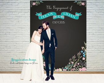 Wedding Engagement Reception Chalkboard Backdrop – Rustic Wedding Banner – Blue Photo Booth Sign – Vintage Wedding: DIGITAL File