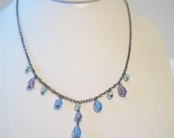 Pastel Acrylic Tear Drop Chain Necklace Gunmetal Costume Jewelry