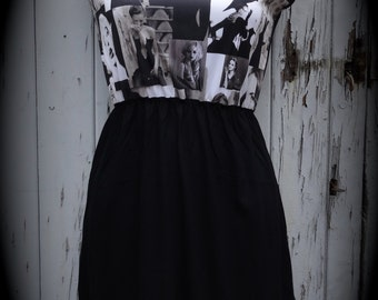 Brand New Black & White Audrey Hepburn Dress - Size 10 12 14 - Digital Print Skater Pin Up Girl 1950s