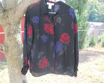 Black with Red and Blue Flowered Jones of New York Long Sleeve Women's Blouse / Shirt