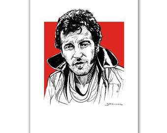 "Bruce Springsteen, The Boss, A4 print (8 x 11"") of original pen illustration."