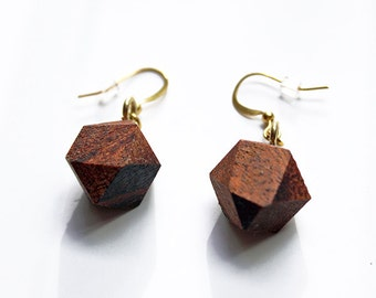 Geometric wood earrings, faceted wood earrings, wood earrings, wood gem earrings, faceted dangle earrings, valentines gift for her, birthday