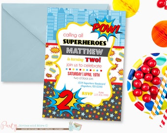 Superhero Birthday Invitation, Comic Birthday Invitation, Superheroes Invitation, Superhero Invitation, Superhero Birthday Party
