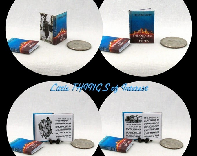 The OLD MAN And The SEA Dollhouse Miniature Book 1:12 Scale Readable Illustrated
