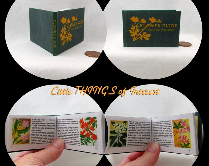 FLOWER GUIDE Illustrated READABLE Book in 1:3 Scale Miniature Book American Girl Doll 18 inch Ag Doll 1/3 Scale
