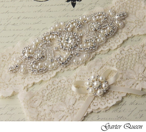 Ivory Garters Wedding: Ivory Lace Garter Set Lace Wedding Garter Set Ivory Wedding