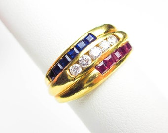 Art Deco 18K & Sapphire, Diamond, Ruby Ring/ Band, Wedding, Engagement, Stacking, 1940s USA.