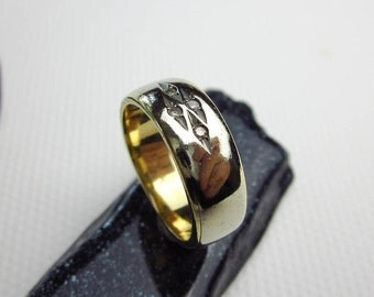 Art Deco 14K & Diamond Ring/ Band, 6mm. Wide, Gypsy Mount, Two Tone Gold, Hallmarked, ca.1930 USA.