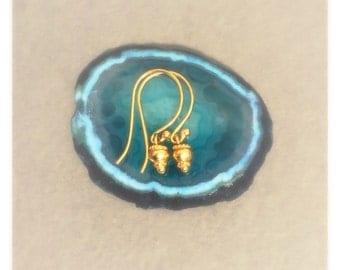 Tiny Gold Vermeil Bali Charm Dangle Earrings. Dainty Drop Earrings. 24kt Gold Vermeil French Hook Earrings. - A1680