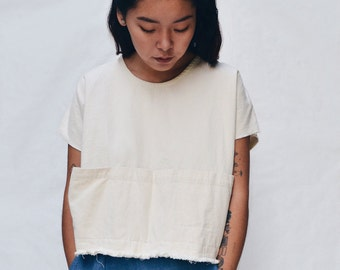 Smock Top in White Twill //  Denim Top - White Tops - Denim Smocks - Women's Hand-made Clothing