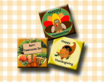 HAPPY THANKSGIVING - 1 inch square images for glass and resin pendants, earrings,decoupage, scrapbooking. Instant Download #108.