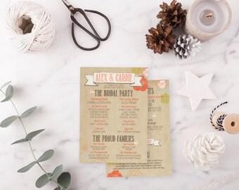 Wedding Program DEPOSIT - Printable, Custom - DIY Wedding - RUSTIC, Kraft Paper, Jars, Double Sided, Vintage, Floral (Wedding Design #6)