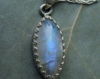 "Incredible Fancy Filigree Rainbow Moonstone And 925 Sterling Silver Pendant With 18""  Sterling Silver Rope Chain"