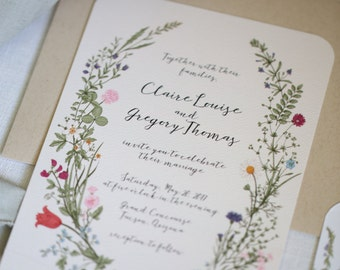 Wildflower Wedding Invitation set, Floral, Garden, calligraphy, outdoor wedding invitation