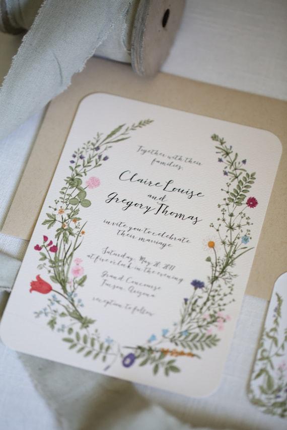 Wildflower wedding invitation set floral garden for Garden wedding invitation designs