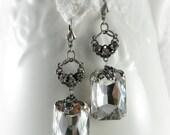 Downton Abbey Earrings Crystal Bridal Earrings Holiday Party Jewelry Vintage Bridal Jewelry Great Gatsby Earrings