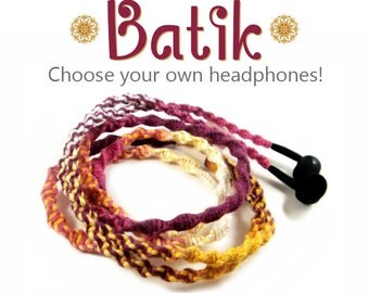 Wrapped Earbuds   Tangle Free Custom Headphones   Batik Jewel Yoga Festival Earphones   iPhone 7, iPhone 6 Earpods, Android, Sony Skullcandy