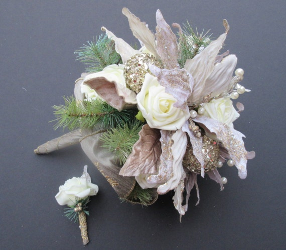 Winter Wedding Bouquet Roses And Poinsettias Gold And