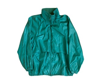 vintage eddie bauer windbreaker green nylon 90s zip up ripstop windbreaker jacket