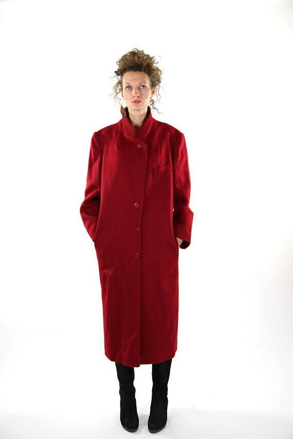 Red wool coat winter coat women overcoat oversize winter