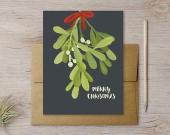 Mistletoe Christmas Card with Kraft Envelope