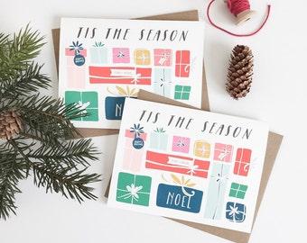 Tis The Season Christmas Card. Set of 6. Gifts Greeting Card. Blank Holiday Card. Christmas Cards. Colorful Christmas cards. # 265