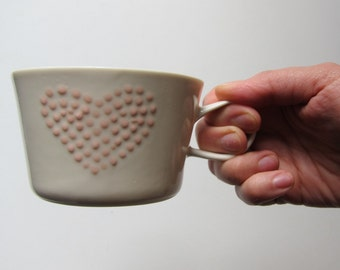 Handmade porcelain cup with dotted heart decoration, medium size ceramic cup with handle