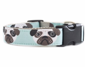 Aqua Pug Dog Collar - Grey, White and Blue and Brown Pug Printed Collar