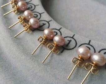 1 Pair of 6mm Light Mauve/Dusty Pink Freshwater Pearl Gold Filled Studs/Wedding/Bridesmaid/Mauve Earrings/Purple Pearl/Pink Pearl/Pearls