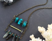 turquoise necklace - turquoise statement necklace - labradorite necklace - turquoise crystal necklace - bohemian necklace - healing crystals