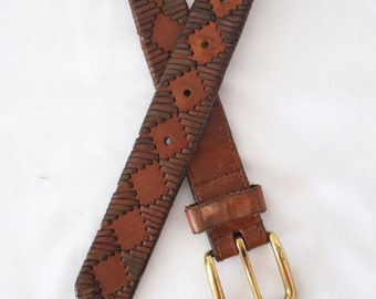 Vintage Leather Belt with Woven Leather Accents Brass Buckle Sz 40