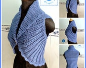 Shawl cir-collar vest pdf crochet pattern ( size 2XS - 2XL )