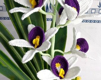 Crocheted realistic orchid flower twig ( purple ) - free worldwide shipping