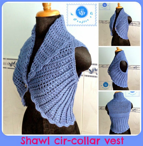 Shawl cir-collar vest pdf crochet pattern ( size 2XS - 2XL )