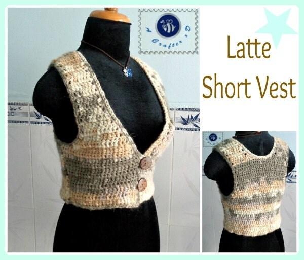 Crochet Short Vest Free Pattern : Latte short vest pdf crochet pattern size 2XS 2XL