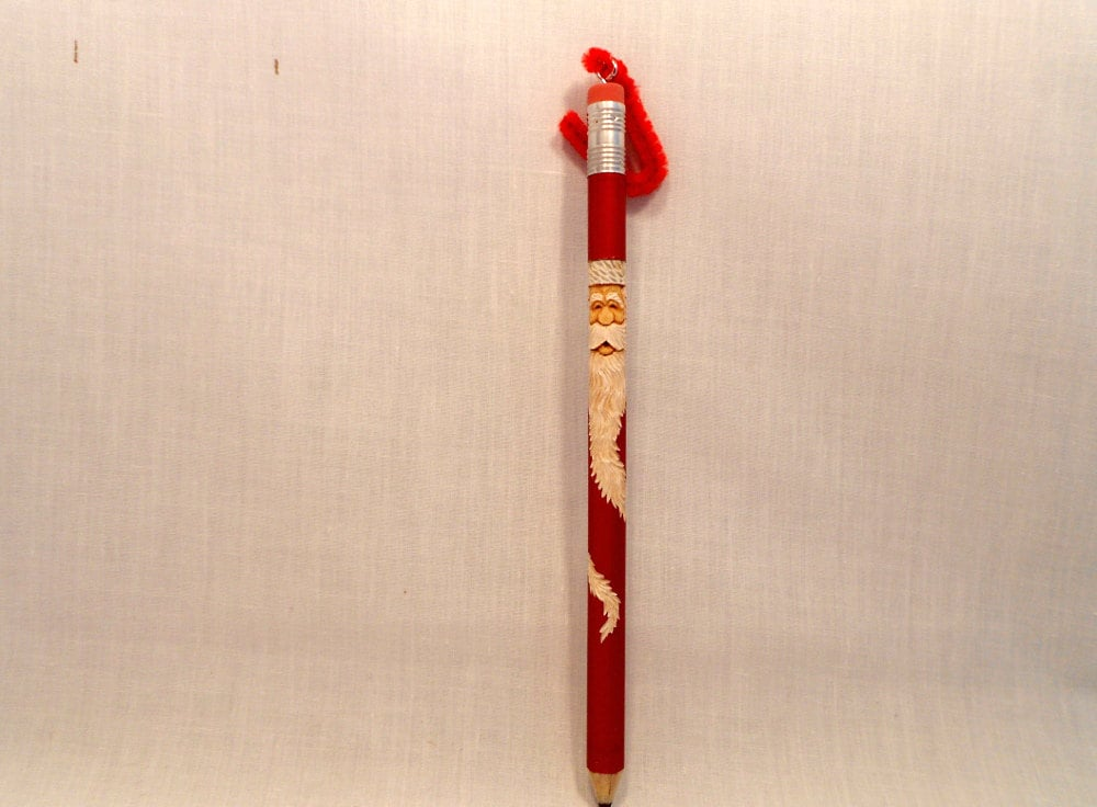 Santa christmas ornament carved pencil unique gift