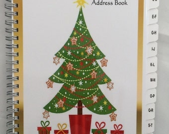 Christmas Card Address Book TABS A-Z 8 yrs 430 entries Personalized Gift Gold Tree